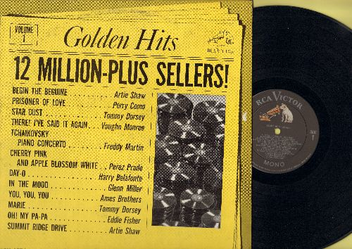 Shaw, Artie, Perez Prado, Ames Brothers, other - Golden Hits - 12 Million-Plus Sellers!: In The Mood, OH! My Papa, Day-O, Begin The Beguine (vinyl MONO LP record) - NM9/VG7 - LP Records