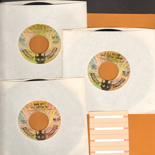 1910 Fruitgum Company - 3-Pack of first issue 45s. Hits include 1, 2, 3, Red Light/Simon Says/Goody Goody Gumdrops. Shipped in plain white paper sleeves with 4 blank juke box labels. GREAT for a juke box! - EX8/ - 45 rpm Records