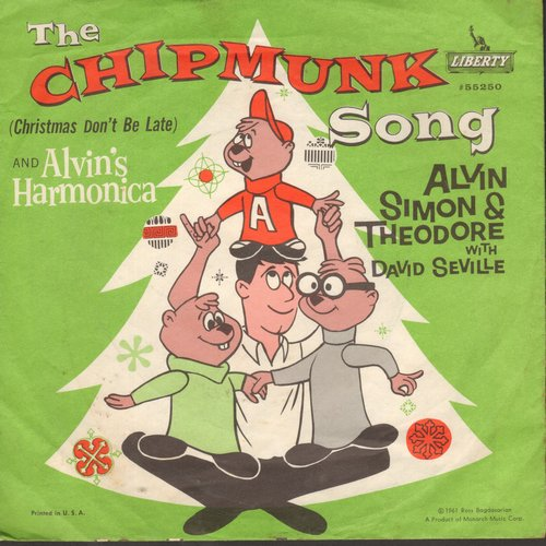 Chipmunks - The Chipmunk Song/Alvin's Harmonica (1961 issue with juke box label and picture sleeve showing Chipmunks as people) - EX8/EX8 - 45 rpm Records