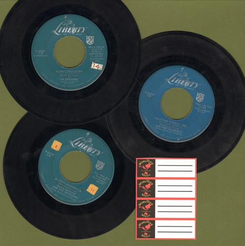 Chipmunks - Chipmunks 3-Pack: Original first issue 45s in very good or better condition. Hits include The Alvin's Orchestra, Alvin's Harmonica and Ragtime Cowboy Joe. Shipped in plain white paper sleeves with 4 blank juke box labels. GREAT for a Juke Box!