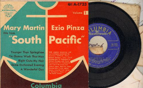 Martin, Mary & Ezio Pinza - Hits From -South Pacific-: Some Enchanting Evening/Younger Than Springtime/A Wonderful Guy/I'm Gonna Wash That Man Right Outa My Hair (vinyl EP record with picture cover) - EX8/EX8 - 45 rpm Records