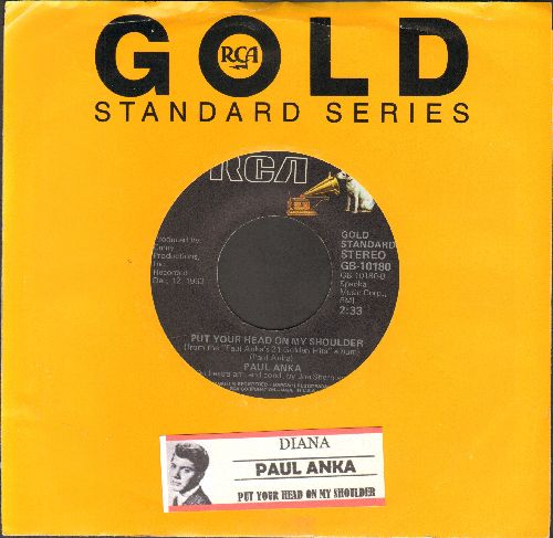 Anka - Put Your Head On My Shoulder/Diana (double-A-sided DJ advance pressing with juke box label and RCA company sleeve) - NM9/ - 45 rpm Records