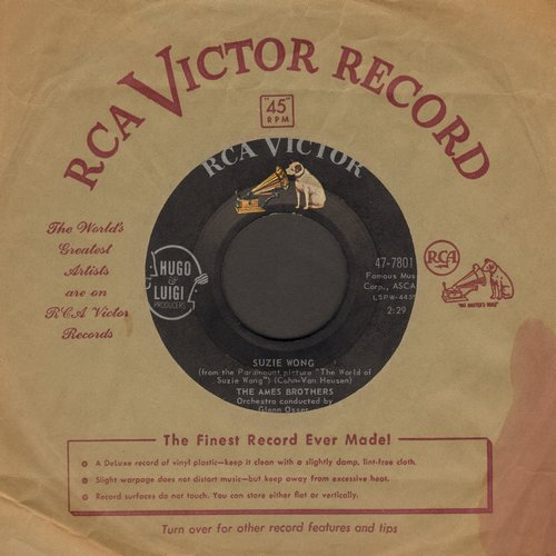 Ames Brothers - Suzie Wong/Where The Hot Wind Blows (with vintage RCA company sleeve) - EX8/ - 45 rpm Records