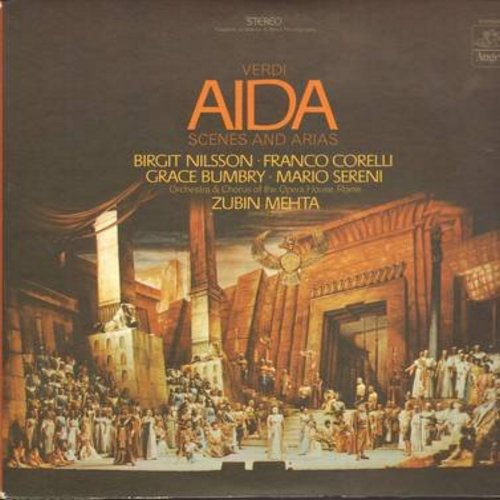 Aida by Verdi - Aida - Scenes And Arias, featuring Birgit Nilsson, Franco Corelli, Grace Bumbry, Mario Sereni, conducted by Zubin Mehta (vinyl STEREO LP record) - M10/EX8 - LP Records