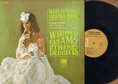 Alpert, Herb & The Tijuana Brass - Whipped Cream & Other Delights: A Taste Of Honey, Love Potion No. 9, Ladyfingers, Peanuts (very 'Interesting' cover photo!) (vinyl STEREO LP record, NICE condition!) - NM9/EX8 - LP Records