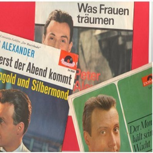 Alexander, Peter - Peter Alexander 3-Pack: Original first issue German Pressings with picture sleeve, very good or better condition. Hits include Wenn erst der Abend kommt, Was Frauen traumen and Der Mond halt seine Wacht.  - NM9/VG7 - 45 rpm Records