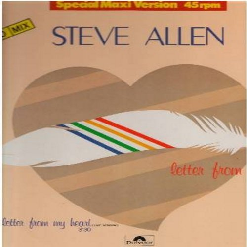 Allen, Steve - Letter From My Heart - 12 inch 45 rpm vinyl Maxi Single featuring 2 different Dance Versions of 1985 Euro-Pop Hit - German Pressing (DANCE CLUB FAVORITE!) - M10/NM9 - Maxi Singles