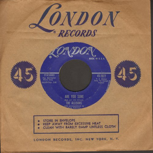 Allisons - Are You Sure (Grand Prix Eurovision 1961)/There's One Thing More (with London company sleeve) - NM9/ - 45 rpm Records