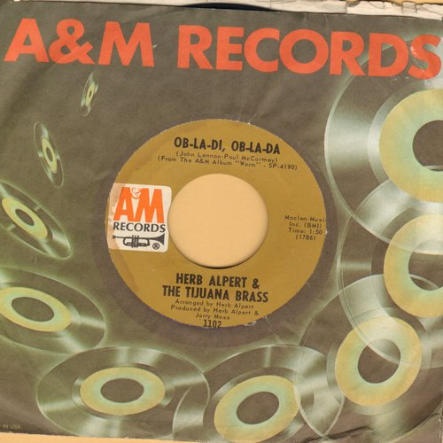 Alpert, Herb & The Tijuana Brass - Ob-La-Di, Ob-La-Da/Marjorine (with company sleeve) - EX8/ - 45 rpm Records