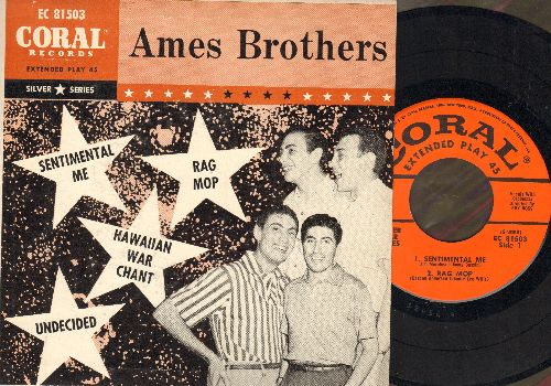 Ames Brothers - Undecided/Sentimental Me/Rag Mop/Hawaiian War Chant (vinyl EP record with picture cover) - NM9/EX8 - 45 rpm Records