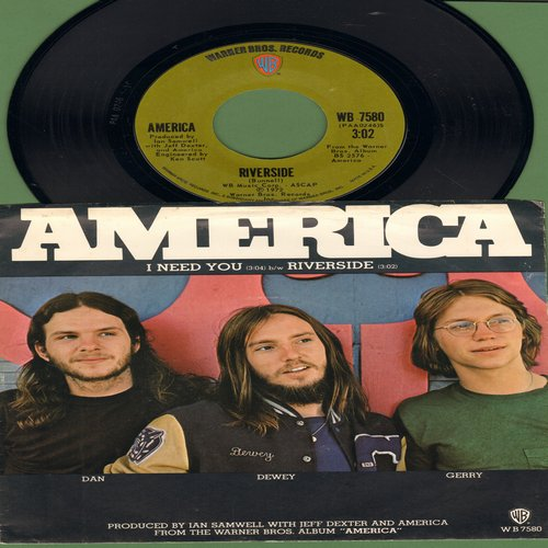 America - Riverside/I Need You (with picture sleeve) - EX8/EX8 - 45 rpm Records