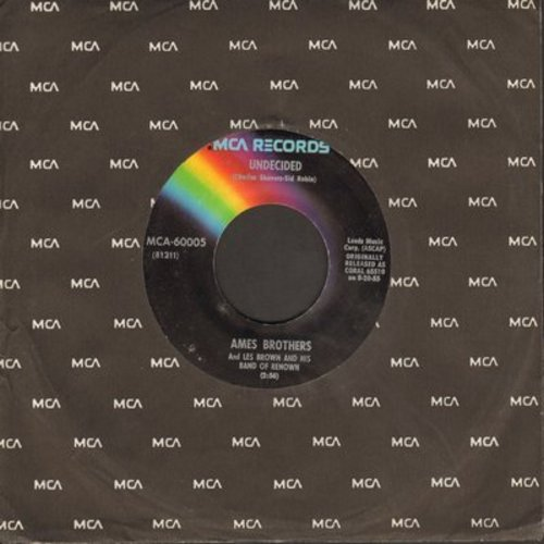Ames Brothers - Undecided/Sentimental Journey (re-issue with juke box label) - NM9/ - 45 rpm Records