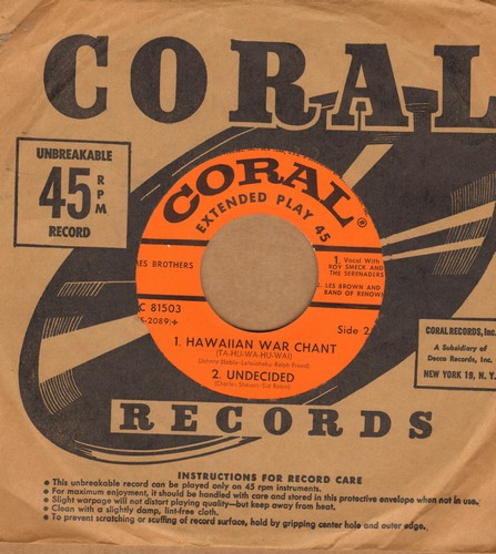 Ames Brothers - Hawaiian War Chant/Undecided/Sentimental Me/Rag Mob (with Coral company sleeve) - EX8/ - 45 rpm Records