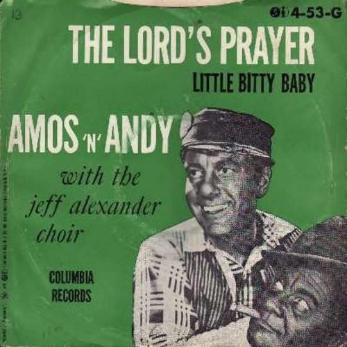 Amos & Andy with the Jeff Alexander Choir - The Lord's Prayer/Little Bitty Baby (RARE vintage Novelty Record with picture sleeve) - NM9/EX8 - 45 rpm Records