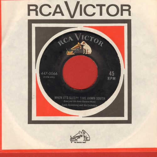 Armstrong, Louis & His Orchestra - When It's Sleepy Time Down South/Basin Street Blues (with vintage RCA company sleeve) - EX8/ - 45 rpm Records
