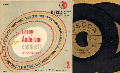 Anderson, Leroy - Leroy Anderson Conducts: Belle Of The Ball/Blue Tango/China Doll/Horse And Buggy/Fiddle Faddle + 4 (2 vinyl 45rpm records in gate-fold picture cover) - EX8/EX8 - 45 rpm Records