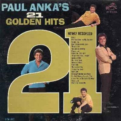Anka, Paul - Paul Anka's 21 Golden Hits (Original 1963 first issue  - vinyl MONO LP record): Diana, Put Your Head On My Shoulder, Lonely Boy, Time To Cry, Puppy Love, Adam And Eve, Dance On Little Girl, The Longest Day - EX8/VG7 - LP Records