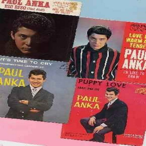 Anka, Paul - Picture Sleeves with Original 45s - 4 pack of Paul Anka hit-45s with picture sleeves. Hit titles include Puppy Love, Eso Beso, It's Time To Cry and Love Me Warm And Tender.  All vinyl and sleeves are in very good or better condition. A nice s