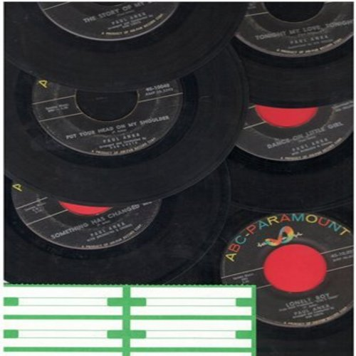 Anka, Paul - 6-Pack of first issue 45s. Hits include Lonely Boy, Put Your Head On My Shoulder, It's Time To Cry, Story Of My Love, Tonight My Love Tonight, Dance On Little Girl (sol) (with blank juke box labels, sol) - VG7/ - 45 rpm Records
