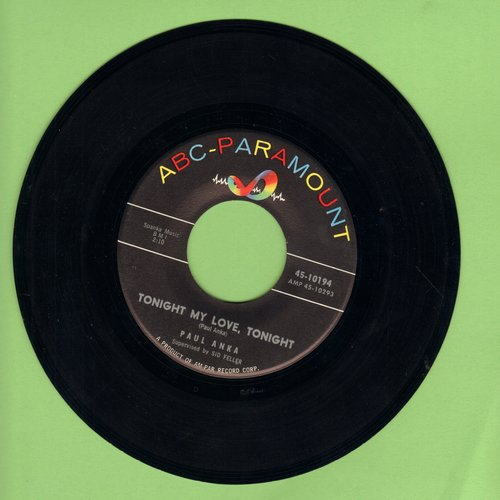 Anka, Paul - Tonight My Love, Tonight/I'm Just A Fool Anyway - VG7/ - 45 rpm Records
