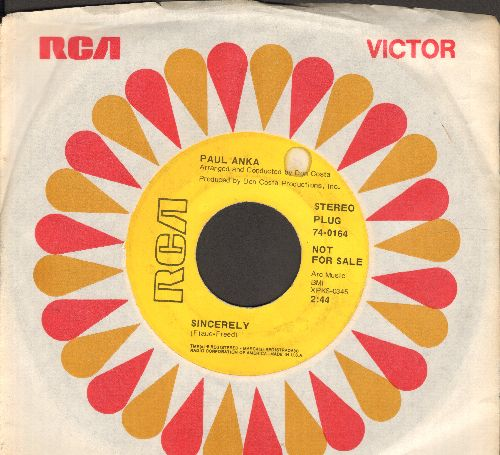 Anka, Paul - Sincerely/Next Year (DJ advance pressing with RCA company sleeve) - EX8/ - 45 rpm Records