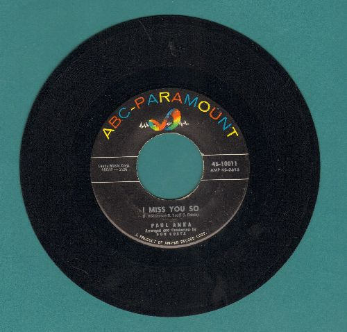 Anka, Paul - I Miss You So/Late Last Night (with juke box label) - NM9/ - 45 rpm Records