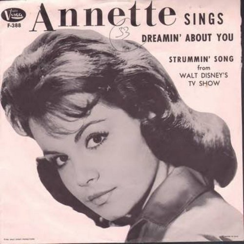 Annette - Dreamin' About You/Strummin' Song (with picture sleeve) - G5/EX8 - 45 rpm Records