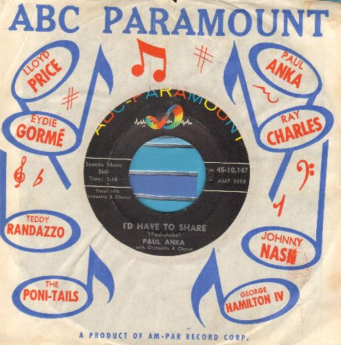 Anka, Paul - I'd Have To Share (FANTASTIC over-looked 50s Teen-Sound Gem!)/Summer's Gone (with vintage ABC-Paramount company sleeve, NICE condition!) - NM9/ - 45 rpm Records