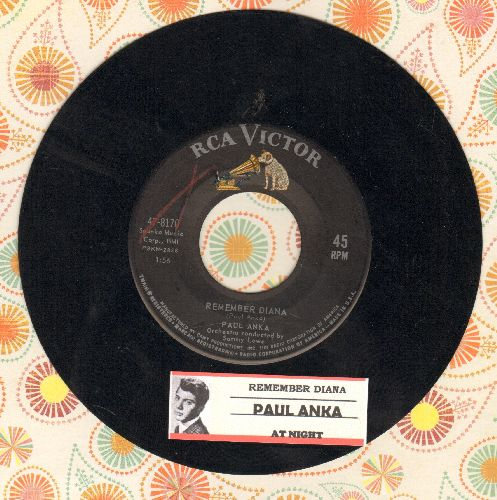 Anka, Paul - Remember Diana/At Night (with juke box label) - EX8/ - 45 rpm Records