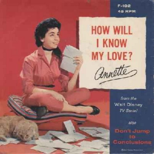 Annette - How Will I Know My Love/Don't Jump To Conclusions (MINT condition vinyl record with RARE picture sleeve) - M10/EX8 - 45 rpm Records