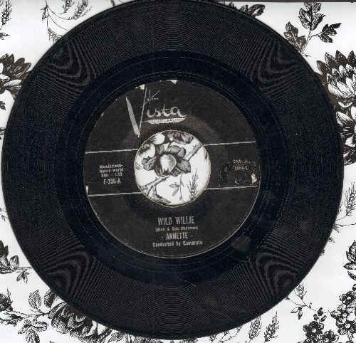 Annette - Wild Willie/Lonely Guitar (first issue black label with juke box label) - VG7/ - 45 rpm Records