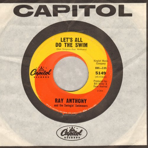 Anthony, Ray & The Swingin' Swimmers - Let's All Do The Swim/Everybody Do The Swim (FANTASTIC up-tempo Dance Craze Novelty two-sider with vintage Capitol company sleeve) - NM9/ - 45 rpm Records