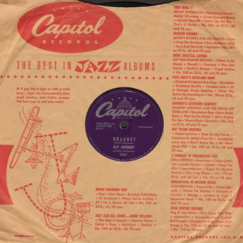 Anthony, Ray - Dragnet/Dancing In The Dark (10 inch 78rpm record) (with Capitol company sleeve) - EX8/ - 45 rpm Records