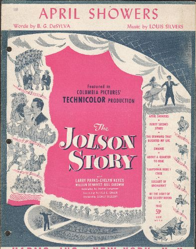 Jolson, Al - April Showers - Vintage SHEET MUSIC for the Al Jolson Classic as featured in 1948 film The Al Jolson Story (3 ring binder punch holes on left) - VG7/ - Sheet Music