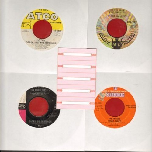 Archies, Derek & The Dominoes, Jackie DeShannon, P-Nut Gallery - Set of 4 first issue 45s with 5 blank juke box labels, exactly as pictured. NICE set of Late 1960s Hits for a juke box or to add to your collection. Shipped in plain white sleeves. - VG7/ -