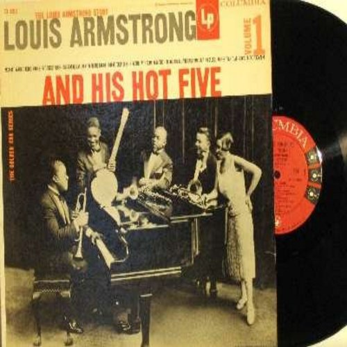 Armstrong, Louis - The Louis Armstrong Story Volume 1 - Louis Armstrong And His Hot Five: Heebie Jeebies, Muskat Ramble, Cornet Chop Suey, Ory's Creole Trombone (vinyl MONO LP record) - EX8/VG7 - LP Records