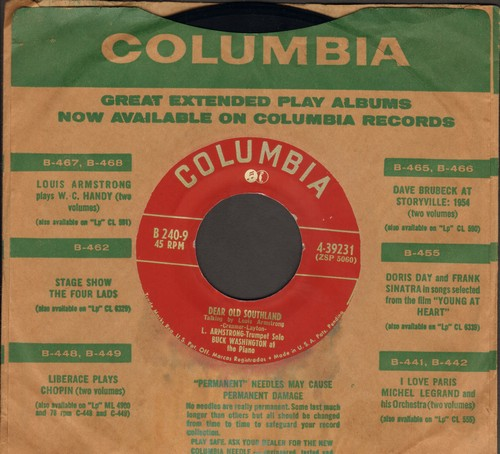 Armstrong, Louis - Lazy River/Dear Old Southland (with vintage Columbia company sleeve) - EX8/ - 45 rpm Records