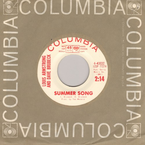 Armstrong, Louis & Dave Brubeck - Summer Song/Nomad (DJ advannce pressing with Columbia company sleeve) - NM9/ - 45 rpm Records