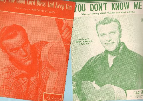 Arnold, Eddy - 2 Eddy Arnold Songs on SHEET MUSIC for the price of 1! - You Don't Know Me/May The Lord Bless And Keep You. NICE cover art. GREAT gift for a fan of the Country Hall Of Famer! - EX8/ - Sheet Music