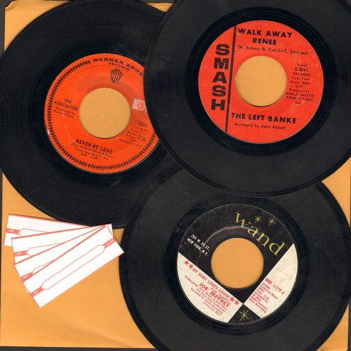 Association, Joe Jeffrey, The Left Banke - Mellow 60s 3-Pack: Original first pressing, hits include Never My Love, My Baby Loves Lovin' and Walk Away Rene (shipped in white paper sleeves with 4 blank juke box labels) - EX8/ - 45 rpm Records