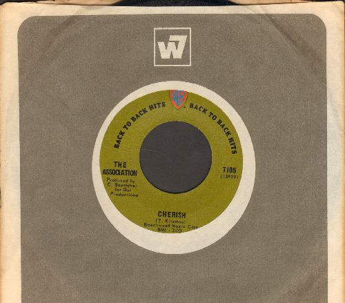 Association - Cherish/Along Came Jones (green label early label double-hit re-issue with Warner Brothers company sleeve)) - NM9/ - 45 rpm Records