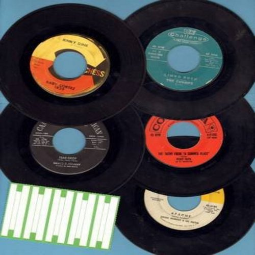 Ingmann, Jorgen & His Guitar, Percy Faith & His Orchestra, Baby Cortez, Champs, Santo & Johnny - Vintage Instrumental 5-Pack: First issue 45s in very good or better condition, shipped in white paper sleeves with strip of 5 blank juke box labels. Hits incl
