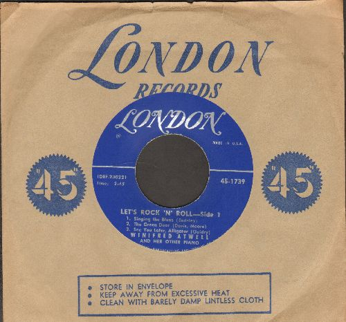 Atwell, Winifred - Let's Rock 'N' Roll (medley of 5 Vintage Rock & Roll Classics in Honky Tonk Piano Style - with vintage London company sleeve) - EX8/ - 45 rpm Records