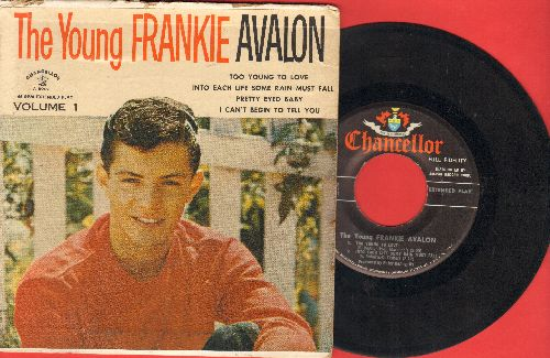 Avalon, Frankie - The Young Frankie Avalon: Pretty Eyed Baby/I Can't Begin To Tell You/Too Young To Love/Into Each Life Some Rain Must Fall (vinyl EP record with picture cover) - EX8/VG6 - 45 rpm Records