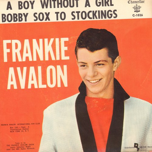 Avalon, Frankie - Bobby Sox To Stockings/A Boy Without A Girl (pink label early issue with picture sleeve) - NM9/EX8 - 45 rpm Records