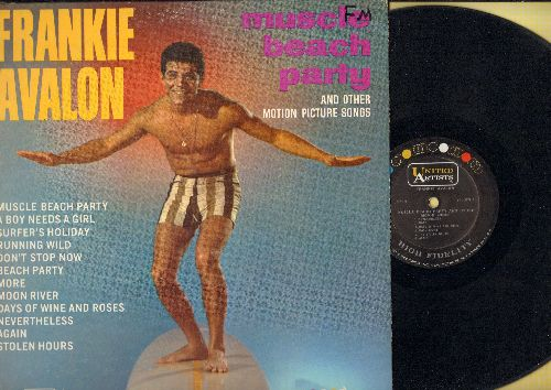Avalon, Frankie - Muscle Beach Party: Don't Stop Now, More, Moon River, A Boy Needs A Girl, Beach Party (Vinyl LP record, RARE MONO first Pressing!) - EX8/VG7 - LP Records