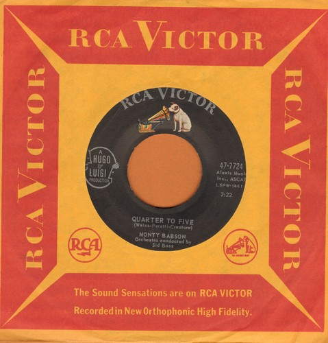Babson, Monty - Quarter To Five/Crazy She Calls Me (with vintage RCA company sleeve) - EX8/ - 45 rpm Records