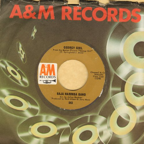 Baja Marimba Band - Georgy Girl/Cabeza Arriba! (with A&M company sleeve) - NM9/ - 45 rpm Records