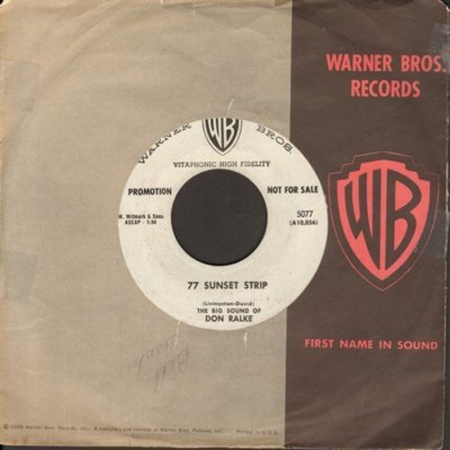 Ralke, Don - 77 Sunset Strip/77 Sunset Strip Cha Cha (DJ advance pressing with vintage Warner Brothers company sleeve) - EX8/ - 45 rpm Records