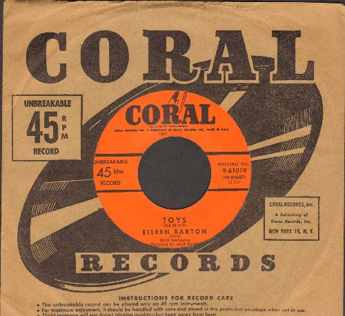 Barton, Eileen - Toys/I Ain't Gonna Do It (with Coral company sleeve) - EX8/ - 45 rpm Records
